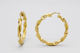 18kt Yellow Gold Twist Hoop Earrings