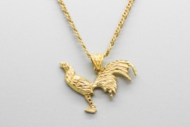 18Kt Yellow Gold Rooster Pendant