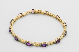 18Kt Gold Amethyst & Diamond Bracelet