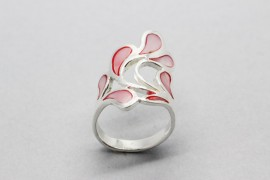 Sterling Silver Ring with a Water Drop Design Painted with Pink Enamel