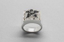 Sterling Silver Flower Ring with Black and White Crystals
