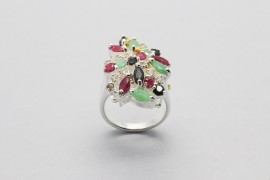 Silver Ring with White, Green, Red and Black Cubic Zirconia