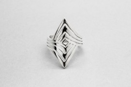 Sterling Silver Rhombus Ring with a Three Band Design