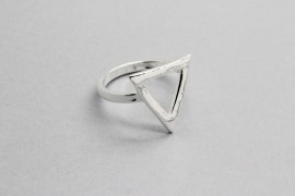 Sterling Silver Ring with a Triangle Centre Piece