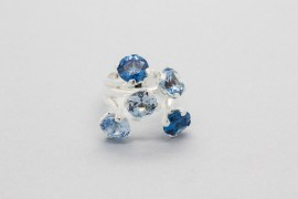 Sterling Silver Ring with Blue Cubic Zirconia Gemstones