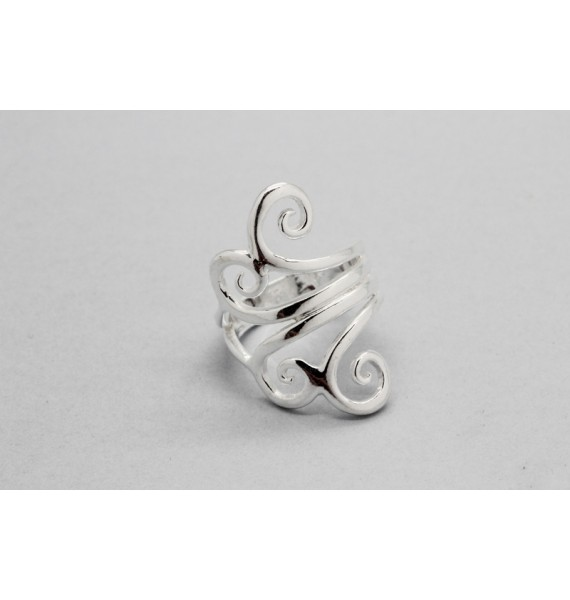 Three Band Sterling Silver Ring with a Wave Design
