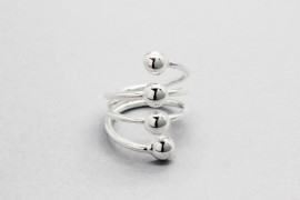 Sterling Silver Ring with Four Silver Spheres