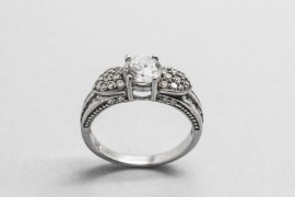 Sterling Silver Solitaire Ring with Cubic ZIrconia