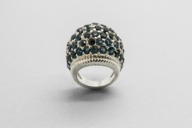 Sterling Silver Ring Decorated with Blue Cubic Zirconia