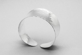 Sterling Silver Cuff Bangle with a Hammered Finish