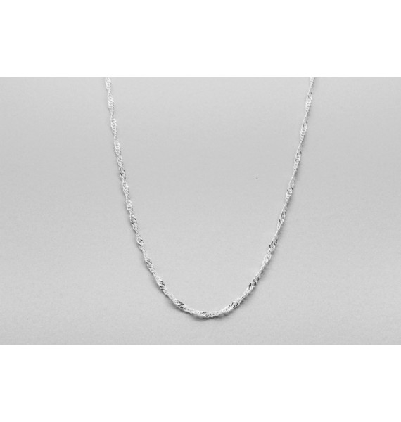 Sterling Silver Singapore Chain - 50cm