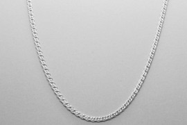 Sterling Silver Double Curb Chain - 44cm