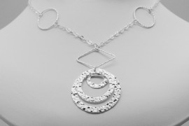 Sterling Silver Three Disc Necklace