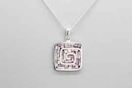Sterling Silver Pendant with a Hand Painted Spiral Design