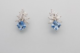 Sterling Silver White and Blue Cubic Zirconia Earrings
