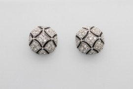Sterling Silver Cubic Zirconia and Enamel Stud Earrings