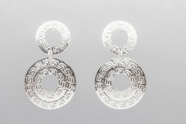Sterling Silver Double Disc Earrings with an Italian Motif