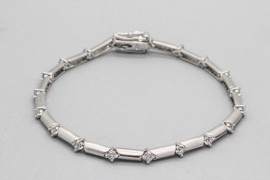 Rhodium Plated Sterling Silver Cubic Zirconia Bracelet