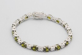 Sterling Silver Tennis Bracelet Decorated with Gemstones