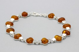Sterling Silver Bracelet with Amber Gemstones
