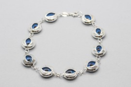 Sterling Silver Bracelet with Evil Eye Charms