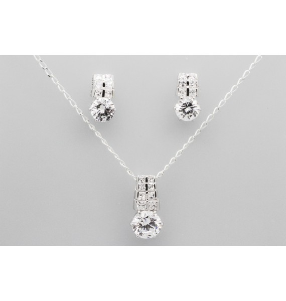 Sterling Silver Earring & Pendant Set with Cubic Zirconia