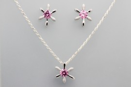 Sterling Silver Set Decorated with Pink Cubic Zirconia