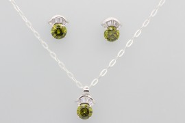 Sterling Silver Set with White and Green Cubic Zirconia