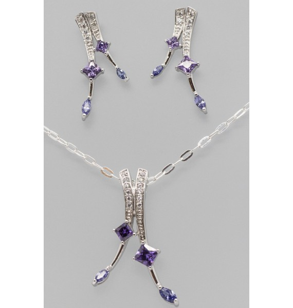 Silver Earring & Pendant Set with Colourful Cubic Zirconia