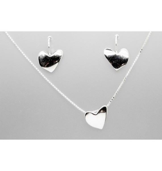 Sterling Silver Heart Necklace and Earrings Set