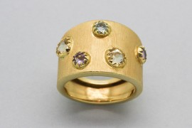 18Kt Yellow Gold Ring with Aquamarine, Citrine and Amethyst