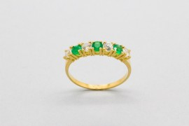 18Kt Gold Ring Decorated with Emeralds & Cubic Zirconia