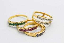 18Kt Yellow Gold Diamond, Sapphire, Ruby and Emerald Ring