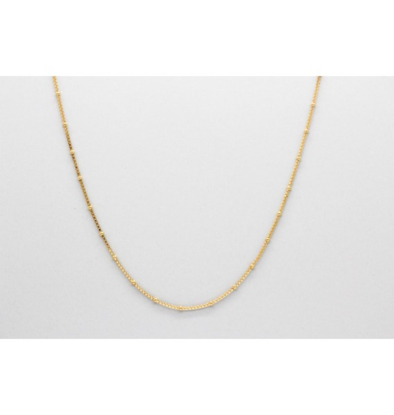 18Kt Gold Bead & Box Link Chain Measuring 40cm