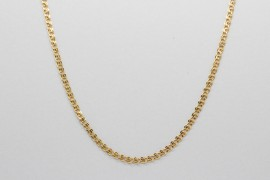 18Kt Yellow Gold Necklace with Heart Shaped Links, 45cm
