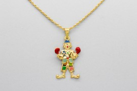 18Kt Yellow Gold Clown Pendant Hand Painted with Enamel