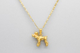 18Kt Yellow Gold Poodle Pendant and Charm