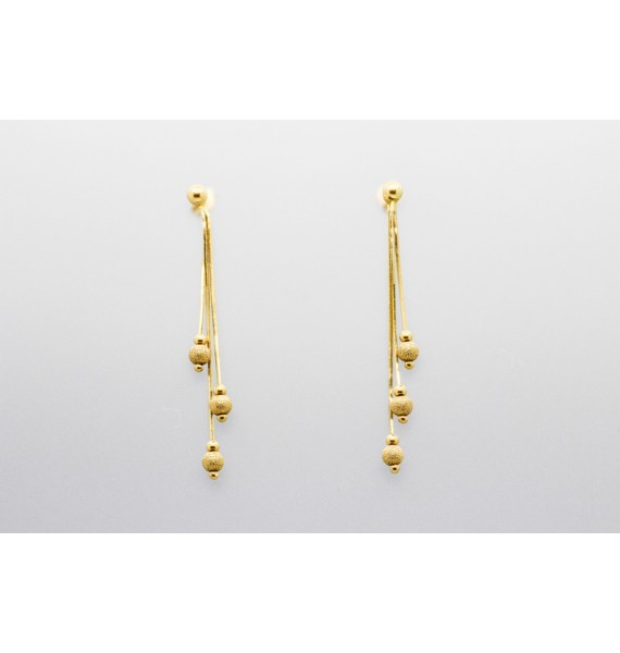 18kt Yellow Gold Drop And Ball Earrings