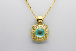 18Kt Yellow Gold Pendant with Aquamarine, Amethyst & Citrine