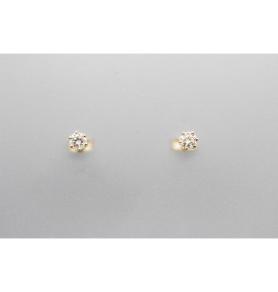 18Kt Yellow Gold Diamond Stud Earrings in a 6 Prong Setting