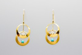 18Kt Yellow Gold Earrings with Turquoise and Cubic Zirconia