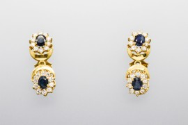 18Kt Yellow Gold Earrings with Sapphires & Cubic Zirconia
