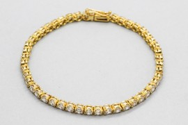 18Kt Yellow Gold Tennis Bracelet with Cubic Zirconia