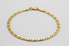 18Kt Yellow Gold Men's Mariner Link Bracelet