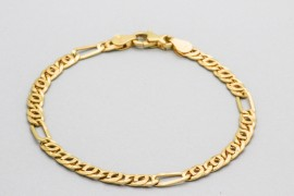 Men's 18Kt Yellow Gold Bracelet with a Figaro Design - 20cm