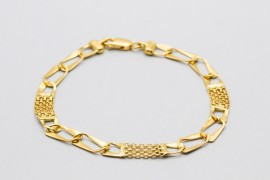Men's 18Kt Yellow Gold Curb and Rolex Link Bracelet