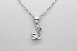 18kt White Gold Gold Duck Pendant