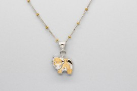 18kt White & Yellow Gold Cow Pendant