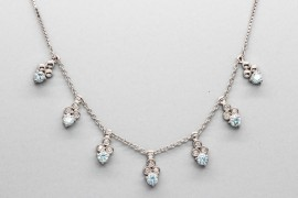 18kt White Gold Gemstone Necklace