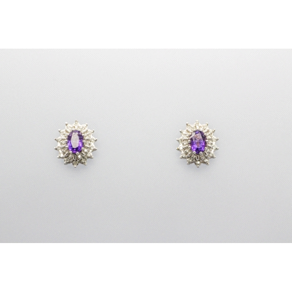 18kt Gold Amethyst & Diamond Earrings